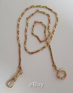 Antique 14K Solid GOLD Two Tones (Yellow & Red) Pocket Watch Chain 9.15 Grams