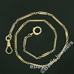 Antique 14K Yellow Gold Hand Etched Bar & Twisted Wire Link Pocket Watch Chain