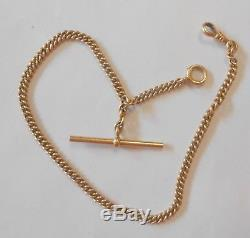 Antique 14K Yellow Gold T-Bar Pocket Watch Chain with Fob 11.75 4 mm Wide