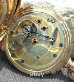 Antique 14k Massive Tri-Color Hunter Pocket Watch Columbus Watch Co. With Chain