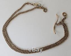 Antique 14k Rose Pink Gold Curb Link Watch Fob Chain 29.5 Grams