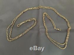 Antique 14k Solid Yellow Gold Long Pocket Watch Chain 28.9 Grams