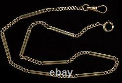 Antique 14kt Yellow Gold Pocket Watch Chain Fob Bar & Link Style 10.81 Grams