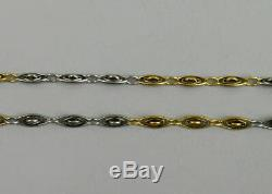 Antique 18 Ct White & Yellow Gold Pocket Watch Albert Chain C. 1920 12.3 Grams
