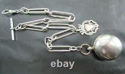 Antique 1898 Solid Silver Albert Pocket Watch Link Chain & Sovereign Holder Fob