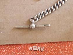 Antique 1899 London Albert Pocket Watch Chain (two silver and gold medallions)