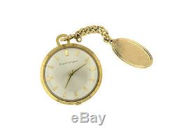 Antique 18K Yellow Gold Girard Perregaux Pocket Watch With Small Chain 14k LWD