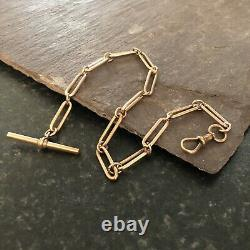 Antique 18ct Rose Rolled/Plated Gold Trombone Link Albert Pocket Watch Chain