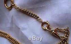 Antique 18k solid gold pocket watch chain necklace heavy 54.5 grams
