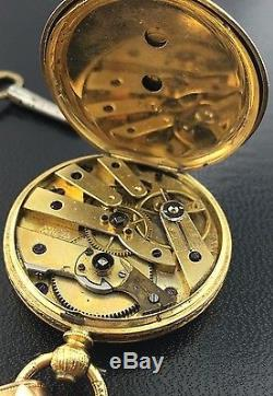 Antique 18k yellow gold Baume Genève pocket watch with GF chain