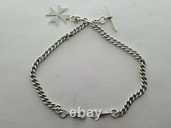 Antique 1900 Sterling Silver Heavy Double Albert Pocket Watch Chain Fob Rare