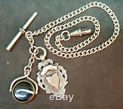 Antique 1900's Solid Silver Pocket Watch Chain & Fobs 30.4 G