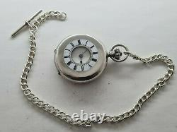 Antique 1901 Swiss Made Half Hunter Solid Silver Pocket Watch 39mm + Chain