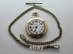Antique 1905 Thomas Russell and Son Gold Plated Pocket Watch Chain VGC Rare