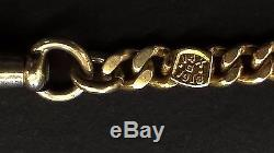 Antique 1918 Double Albert 14K Solid Gold Pocket Watch Chain Plus Masonic FOB