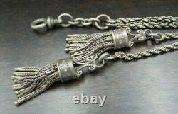 Antique 19th Cent. Central European Sterling Silver Pocket Watch Chain & Tassels