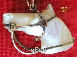 Antique 2 Piece Carved Pearl Horse Shoe & Horse Head Watch Fob 2 Color Chain