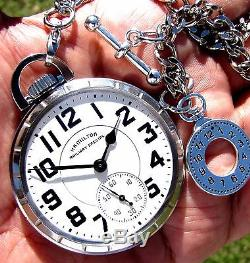 Antique 21 Jewels Pocket Watch Hamilton Railway Special 992-B, Chain Includes