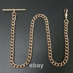 Antique 9 Ct Rose Gold Curb Link Pocket Watch Albert Chain C. 1900 35.6 Grams