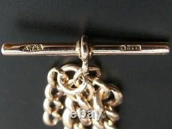Antique 9 Ct Rose Gold Curb Link Pocket Watch Albert Chain C. 1910 36.2 Grams