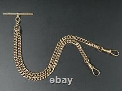 Antique 9 Ct Rose Gold Pocket Watch Albert Curb Link Chain C. 1910 30 Grams