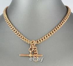 Antique 9Ct Rose Gold Curb Link Double Albert Watch Chain, Chester c 1916, 61.1g