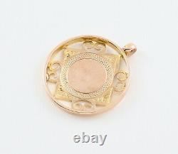 Antique 9Ct Rose Gold Fob / Pendant / Medal For Watch Chain Or Necklace