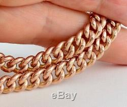 Antique 9Ct Rose Gold Graduated Double Albert Watch Chain, 16 1/4 inches
