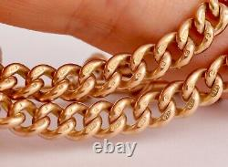 Antique 9Ct Rose Gold Graduated Double Albert Watch Chain / Necklace 16 1/4'