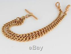 Antique 9Ct Rose Gold Graduated Link Double Albert Watch Chain 57.9g, 17 inches