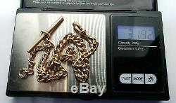 Antique 9ct Gold Graduated Curb Link Albert Chain