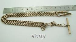 Antique 9ct Rose Gold Double Albert Pocket Watch Necklace Chain 18 Grammes
