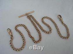 Antique 9ct Solid Rose Gold Double Albert Watch Chain 12 grams