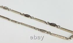 Antique Art Deco 10k white gold 13.5 chain for pocket watch
