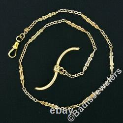 Antique Art Deco 14k Two Tone Gold 14 Pocket Watch Link Chain & Wavy Toggle Bar