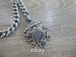Antique Chunky Solid Sterling Silver Single Albert Pocket Watch Chain & Fob