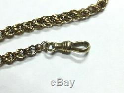 Antique Double Loop Gold Pocket Watch Chain 12k with 14k and 16k Hooks 13 Grams