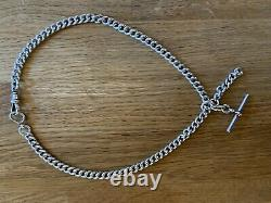 Antique Double Silver Albert Pocket Watch Chain Fob 50g 16 1/2