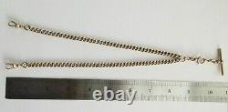 Antique Edwardian 9ct Rose Gold Albert Double Pocket Watch Chain Dog Clips