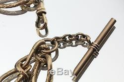 Antique Edwardian Heavy Gold Filled Pocket Watch Chain & Compass Fob