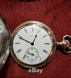 Antique Elgin Hunter case 2 tone Gold and Silver pocket watch with chain