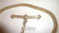 Antique Fancy Rolled Gold or Gold Filled Albert Curb Pocket Watch Chain
