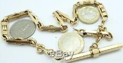 Antique French 18ct yellow gold fancy pocket watch albert guard chain 37.2 grams