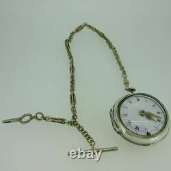 Antique George Finely Kiel Silver Pair Cased Fusee Pocket Watch with Chain