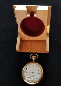 Antique Gold Filled Elgin Pocket Watch, Chain, and With Display Storage Case