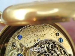 Antique Gold Filled London Key Wind Fusee Chain Drive Pocket Watch Running
