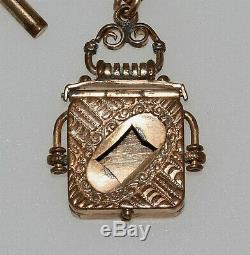 Antique Gold Filled Victorian Pocket Watch Chain w Engraved Picture Locket Fob