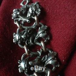 Antique Gold Sterling Silver Hunter Pocket Watch Chain Boar Fox Capercaillie