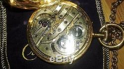 Antique H. Moser Pocket watch 14k. (56) gold with chain 14k. Solid gold