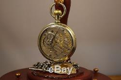 Antique Hamiltoin Railroad Pocket Watch Serviced with Albert Chain Fob & Stand